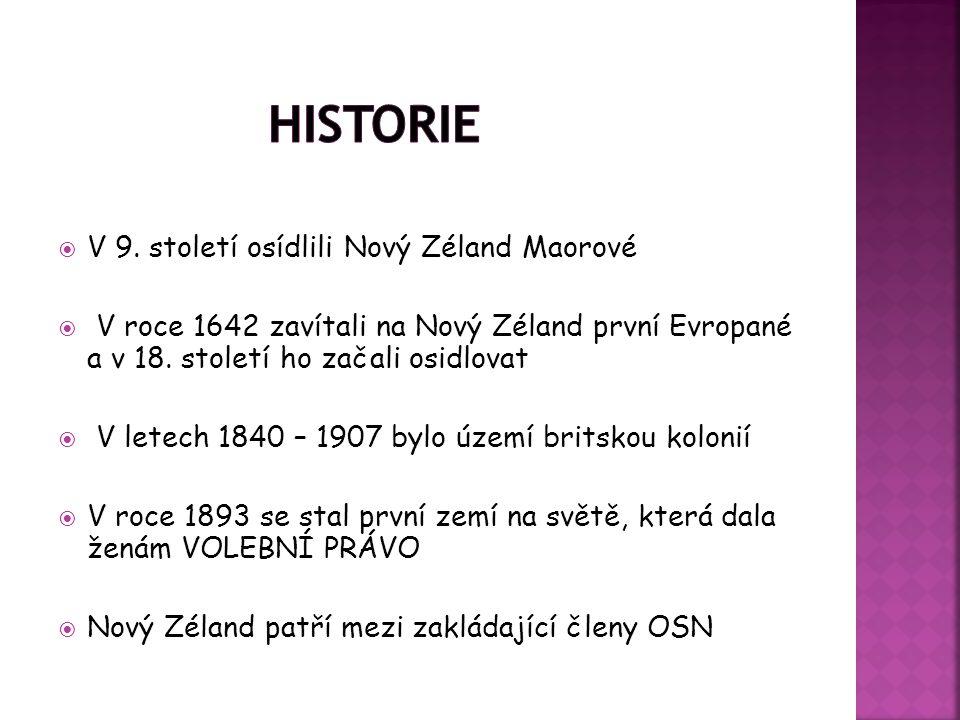  V 9. století osídlili Nový Zéland Maorové  V roce 1642 zavítali na Nový Zéland první Evropané a v 18. století ho začali osidlovat  V letech 1840 –