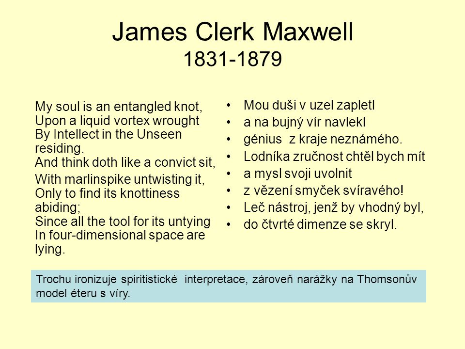 James Clerk Maxwell 1831-1879 My soul is an entangled knot, Upon a liquid vortex wrought By Intellect in the Unseen residing.