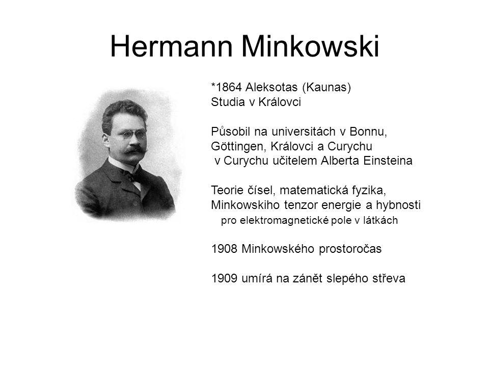 Hermann Minkowski *1864 Aleksotas (Kaunas) Studia v Královci Působil na universitách v Bonnu, Göttingen, Královci a Curychu v Curychu učitelem Alberta Einsteina Teorie čísel, matematická fyzika, Minkowskiho tenzor energie a hybnosti pro elektromagnetické pole v látkách 1908 Minkowského prostoročas 1909 umírá na zánět slepého střeva