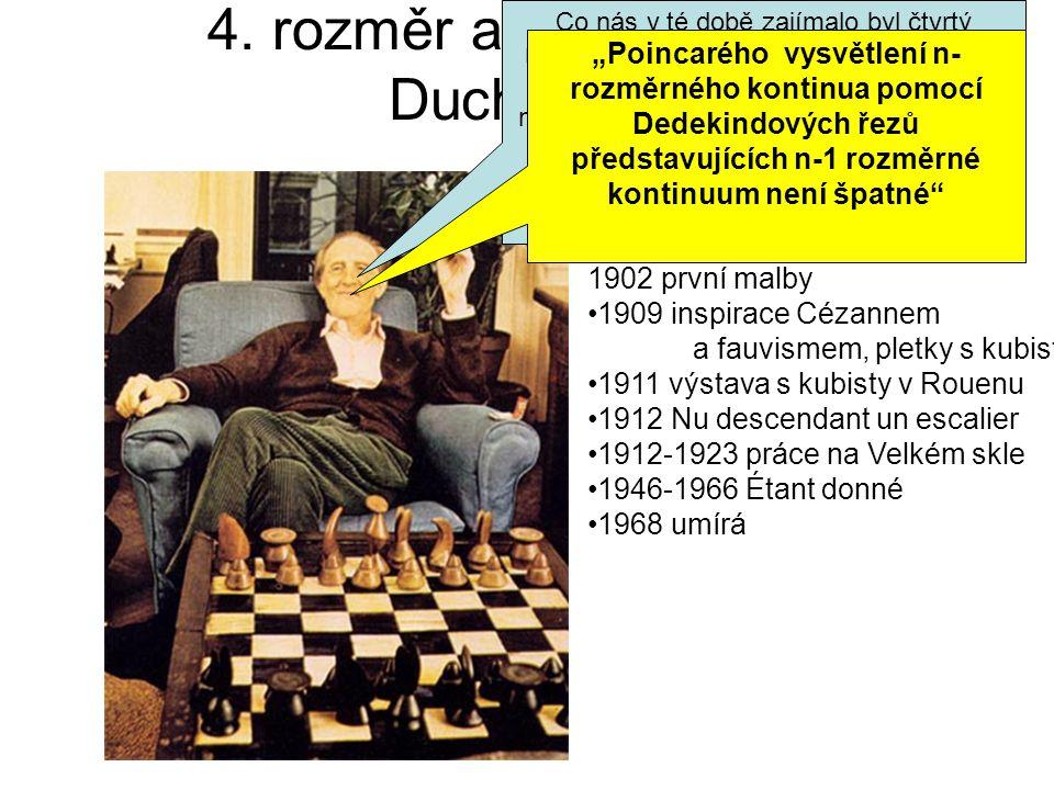 4. rozměr a akty Marcela Duchampa Narozen 1887 Blainville 1902 první malby 1909 inspirace Cézannem a fauvismem, pletky s kubisty 1911 výstava s kubist