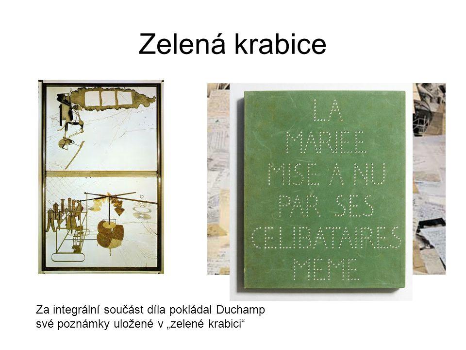 """Zelená krabice Za integrální součást díla pokládal Duchamp své poznámky uložené v """"zelené krabici"""