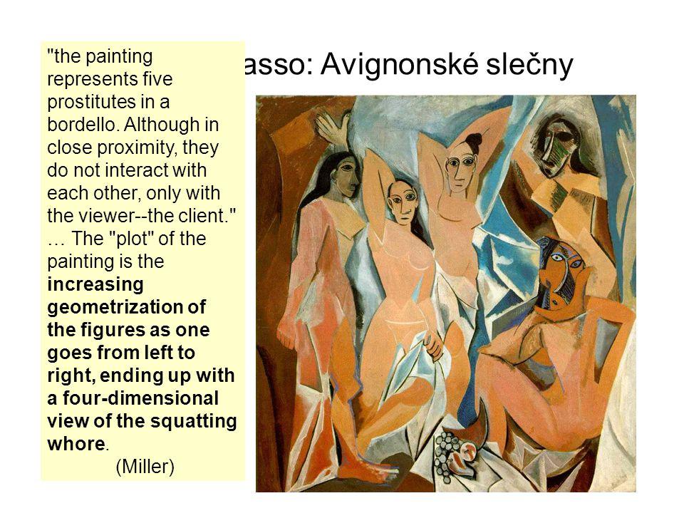"""Pablo Picasso: Avignonské slečny Termín """"cubism Louis Vauxcelles – Bragueův obraz """"plný podivných krychliček Pro analytický kubismus je však nejdůležitější pohled z více stran najednou – """"ořezaný pohled ze 4."""