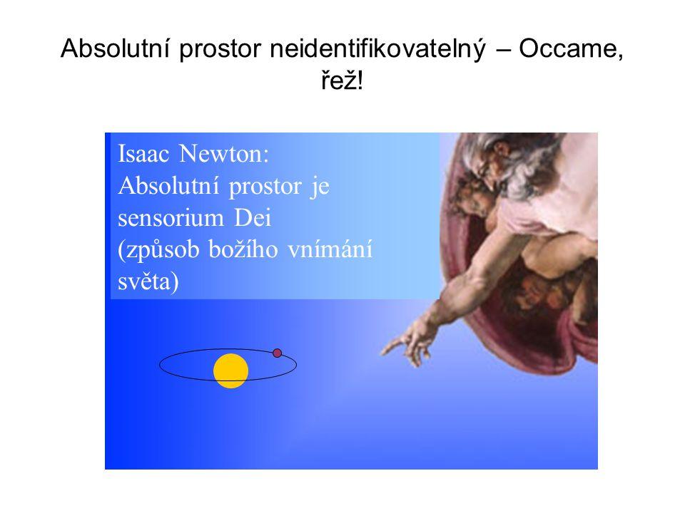 Isaac Newton: Absolutní prostor je sensorium Dei (způsob božího vnímání světa) Absolutní prostor neidentifikovatelný – Occame, řež!
