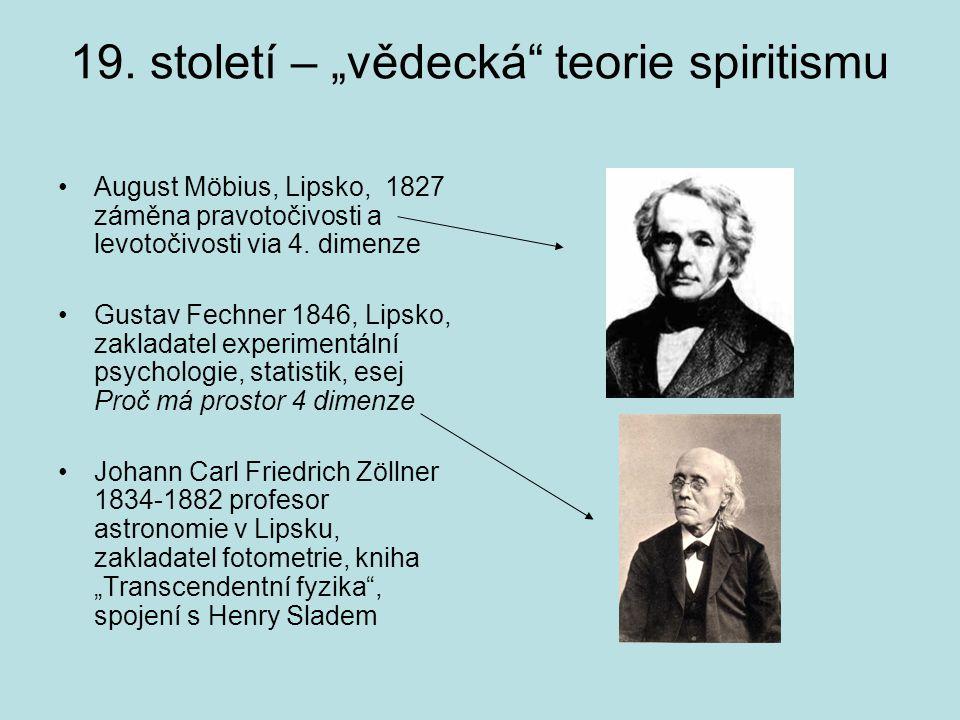 """19. století – """"vědecká"""" teorie spiritismu August Möbius, Lipsko, 1827 záměna pravotočivosti a levotočivosti via 4. dimenze Gustav Fechner 1846, Lipsko"""