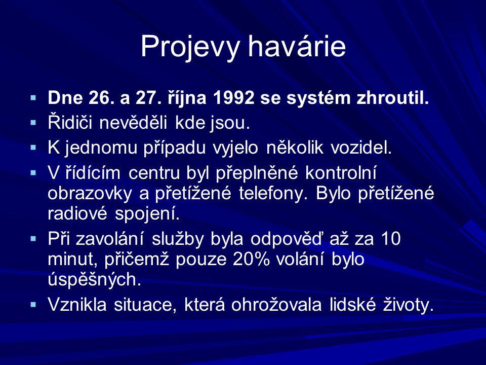 Projevy havárie  Dne 26.a 27. října 1992 se systém zhroutil.
