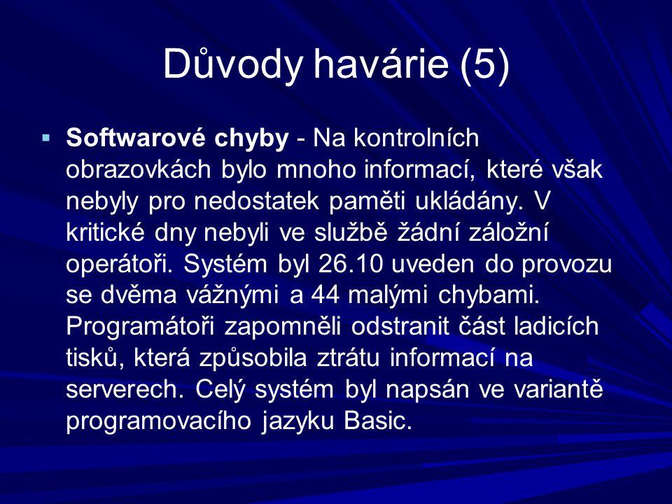 Důvody havárie (5)  Softwarové chyby - Na kontrolních obrazovkách bylo mnoho informací, které však nebyly pro nedostatek paměti ukládány.