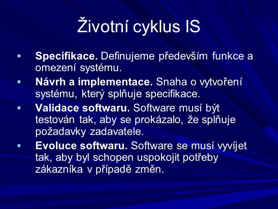 Životní cyklus IS  Specifikace. Definujeme především funkce a omezení systému.