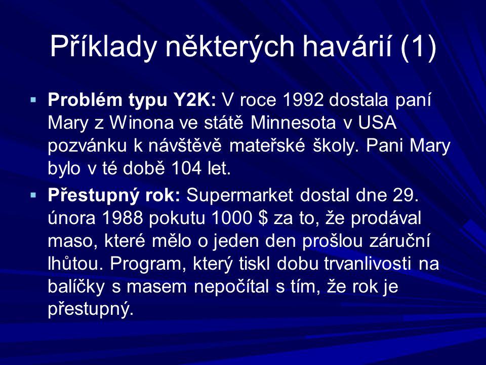 Příklady některých havárií (1)  Problém typu Y2K: V roce 1992 dostala paní Mary z Winona ve státě Minnesota v USA pozvánku k návštěvě mateřské školy.