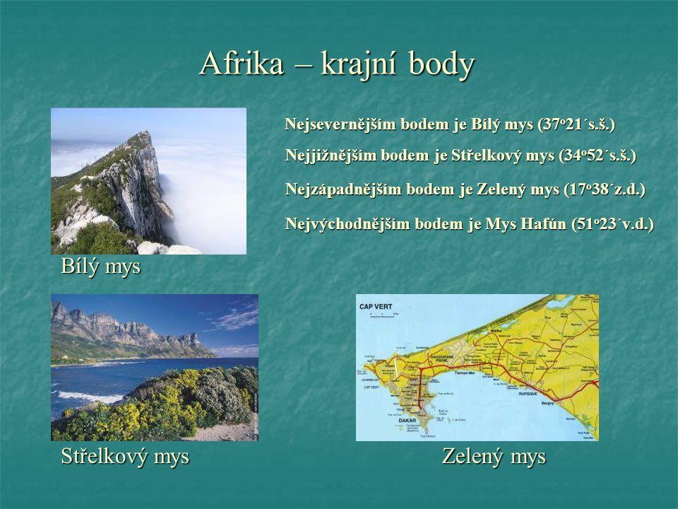 Afrika – krajní body Nejsevernějším bodem je Bílý mys (37 o 21´s.š.) Nejsevernějším bodem je Bílý mys (37 o 21´s.š.) Nejjižnějším bodem je Střelkový m