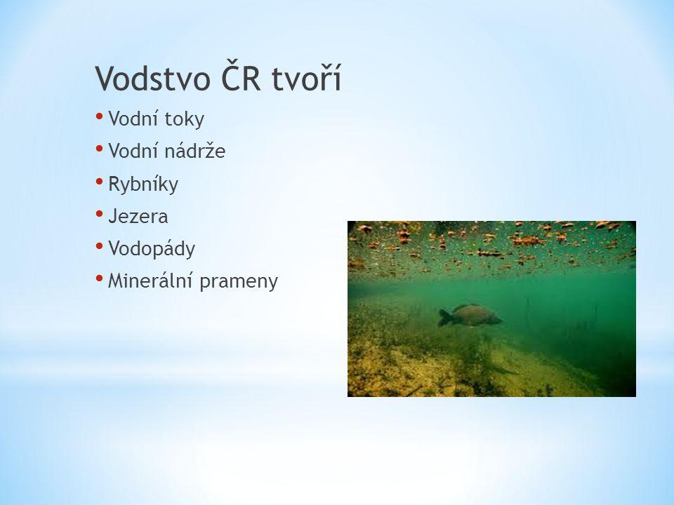 Vodstvo ČR tvoří Vodní toky Vodní nádrže Rybníky Jezera Vodopády Minerální prameny