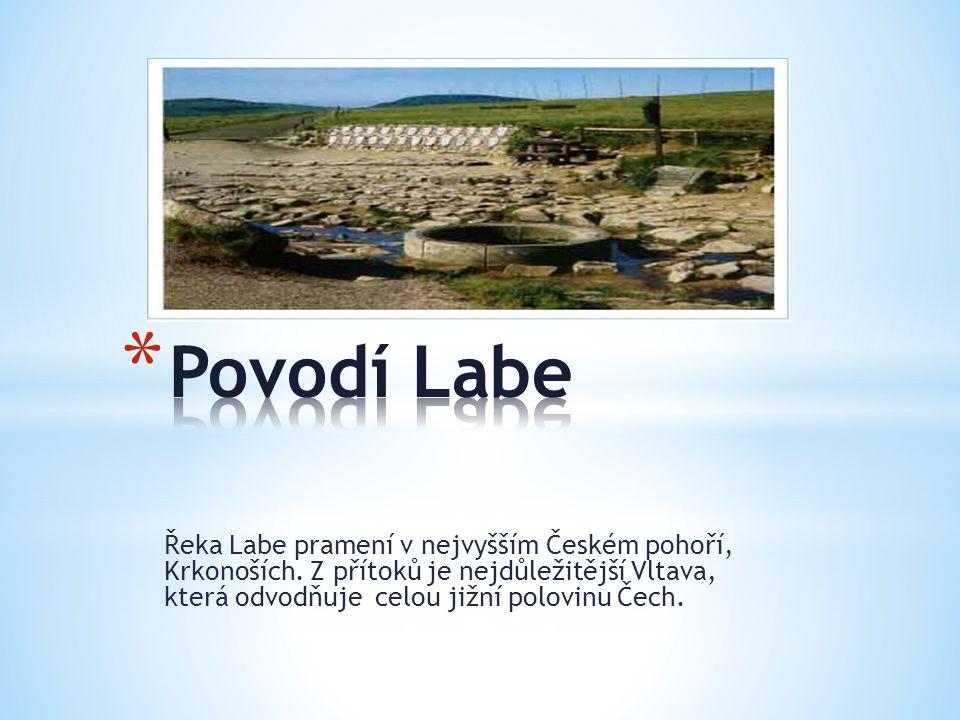 Řeka Labe pramení v nejvyšším Českém pohoří, Krkonoších. Z přítoků je nejdůležitější Vltava, která odvodňuje celou jižní polovinu Čech.