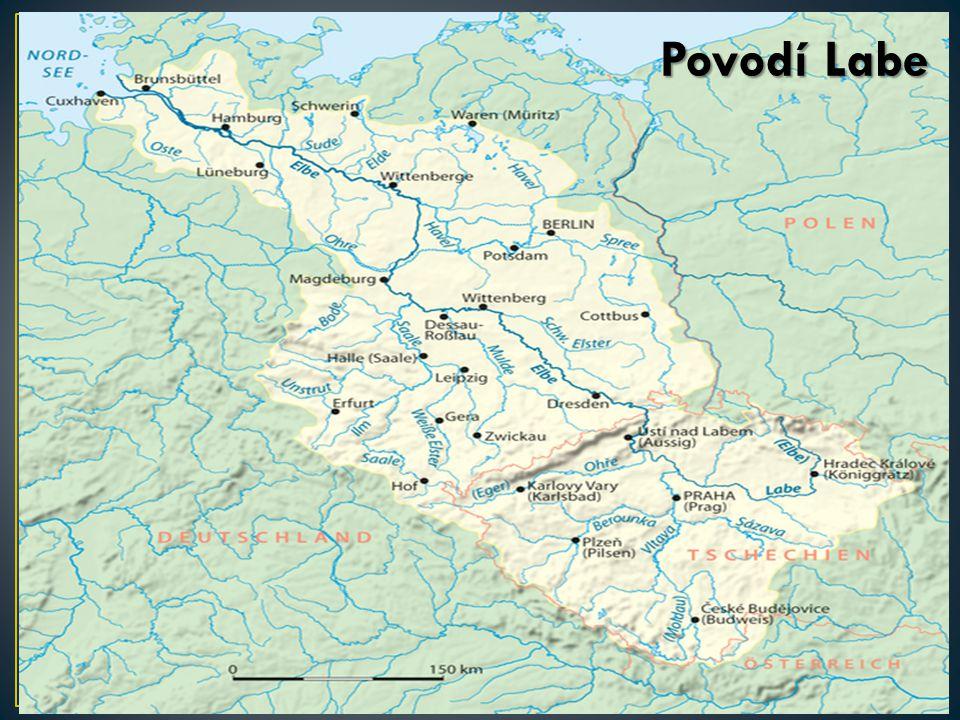 Labe odvodňuje 63,3 % území do Severního moře K povodí Labe náleží většina území Čech Hlavním přítokem Labe je Vltava 27,3 % území je odvodňováno Dunajem (neprotéká územím Česka) do Černého moře Řeka Morava (s hlavním přítokem Dyjí) odvádí vodu do Dunaje z většiny území Moravy K povodí Dunaje rovněž náleží příhraniční oblasti v Šumavské hornatině na jihozápadě Čech K povodí Odry, která odtéká do Baltského moře, náleží 9,3 % území, a to zejména ve Slezsku a na severní Moravě, dále pak menší území na severu a severovýchodě Čech (Liberecko, Broumovsko) Povodí Labe