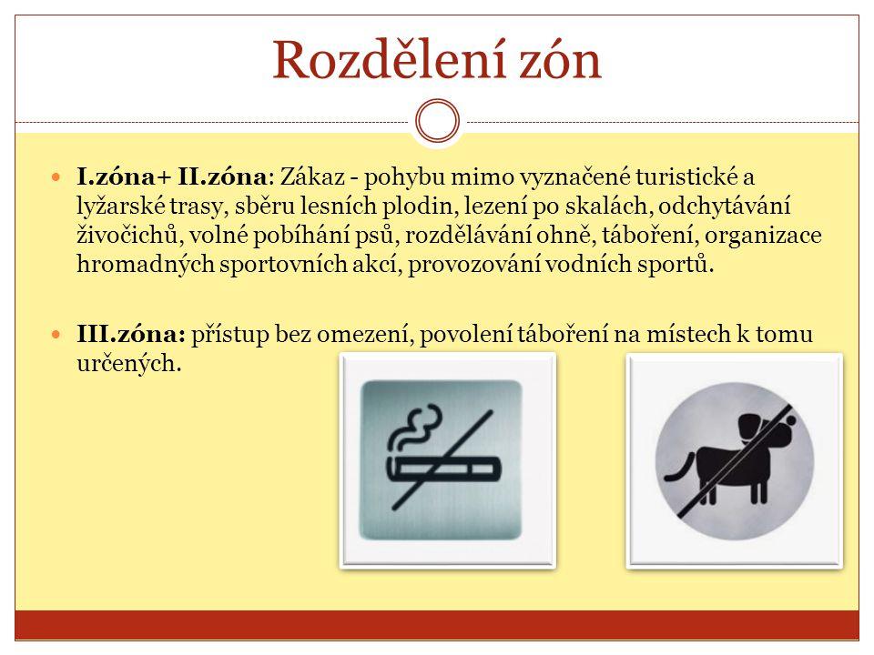 Rozdělení zón I.zóna+ II.zóna: Zákaz - pohybu mimo vyznačené turistické a lyžarské trasy, sběru lesních plodin, lezení po skalách, odchytávání živočic