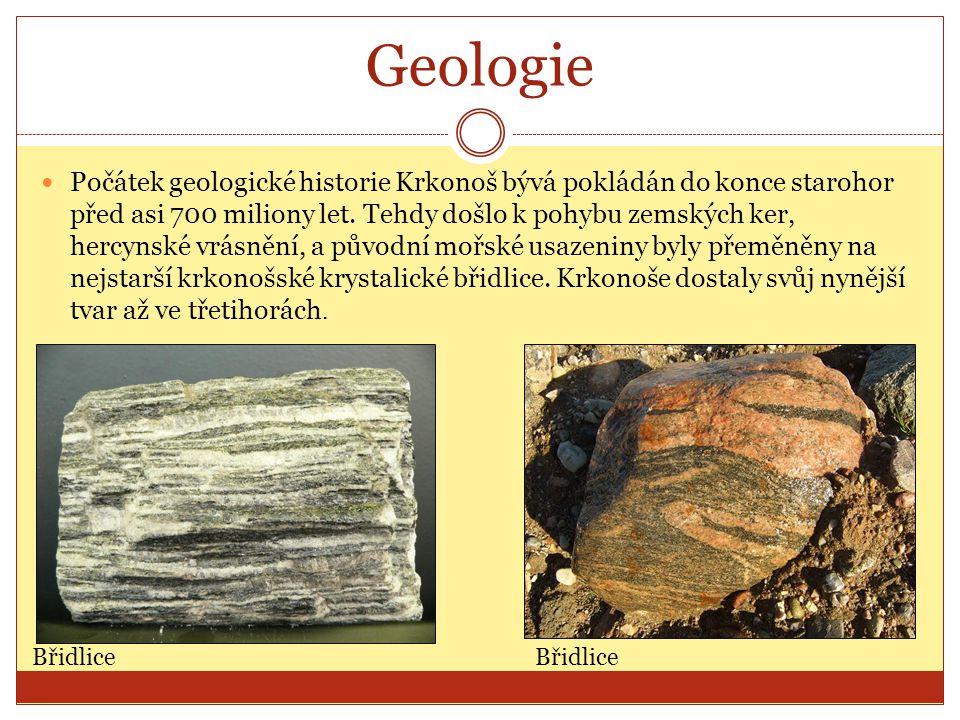 Geologie Počátek geologické historie Krkonoš bývá pokládán do konce starohor před asi 700 miliony let. Tehdy došlo k pohybu zemských ker, hercynské vr