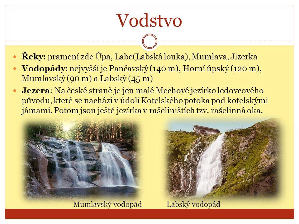 Vodstvo Řeky: pramení zde Úpa, Labe(Labská louka), Mumlava, Jizerka Vodopády: nejvyšší je Pančavský (140 m), Horní úpský (120 m), Mumlavský (90 m) a L