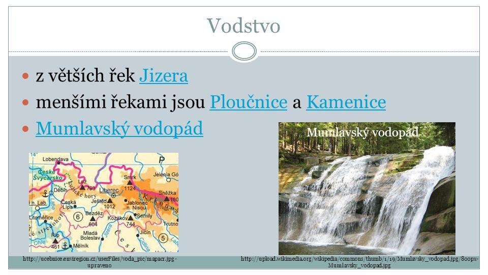 Vodstvo z větších řek JizeraJizera menšími řekami jsou Ploučnice a KamenicePloučniceKamenice Mumlavský vodopád http://ucebnice.enviregion.cz/userFiles