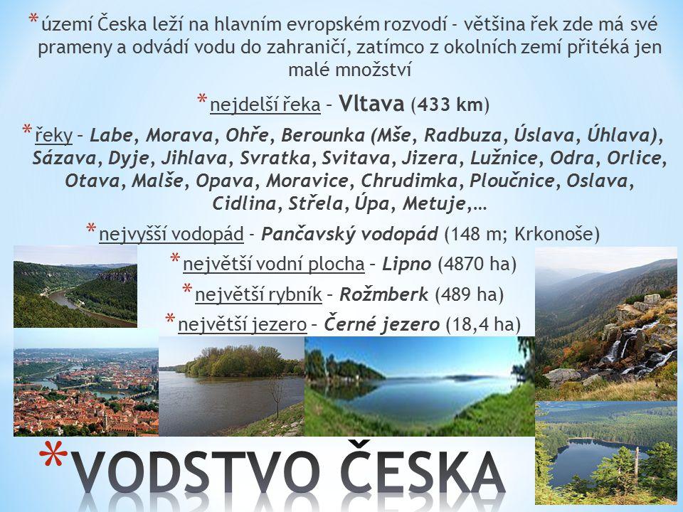 * území Česka leží na hlavním evropském rozvodí - většina řek zde má své prameny a odvádí vodu do zahraničí, zatímco z okolních zemí přitéká jen malé