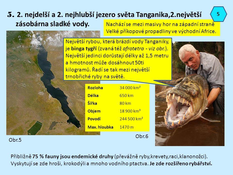 5. 2. nejdelší a 2. nejhlubší jezero světa Tanganika,2.největší zásobárna sladké vody. Obr.5 Rozloha34 000 km² Délka650 km Šířka80 km Objem18 900 km³