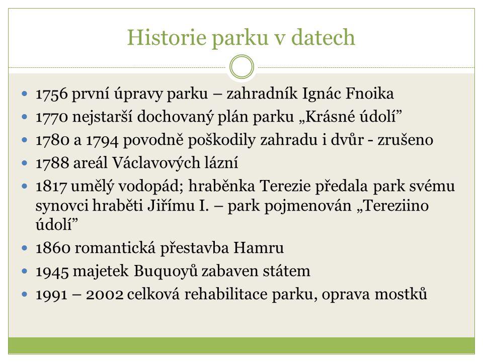 """Historie parku v datech 1756 první úpravy parku – zahradník Ignác Fnoika 1770 nejstarší dochovaný plán parku """"Krásné údolí"""" 1780 a 1794 povodně poškod"""