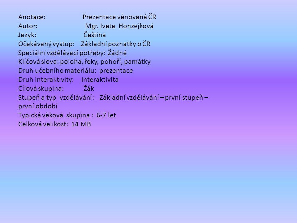 Název projektu: šablony Špičák Číslo projektu: CZ.1.07/1.4.00/21.2735 Šablona: III/2 Autor výukového materiálu: Mgr. Iveta Honzejková Výukový materiál