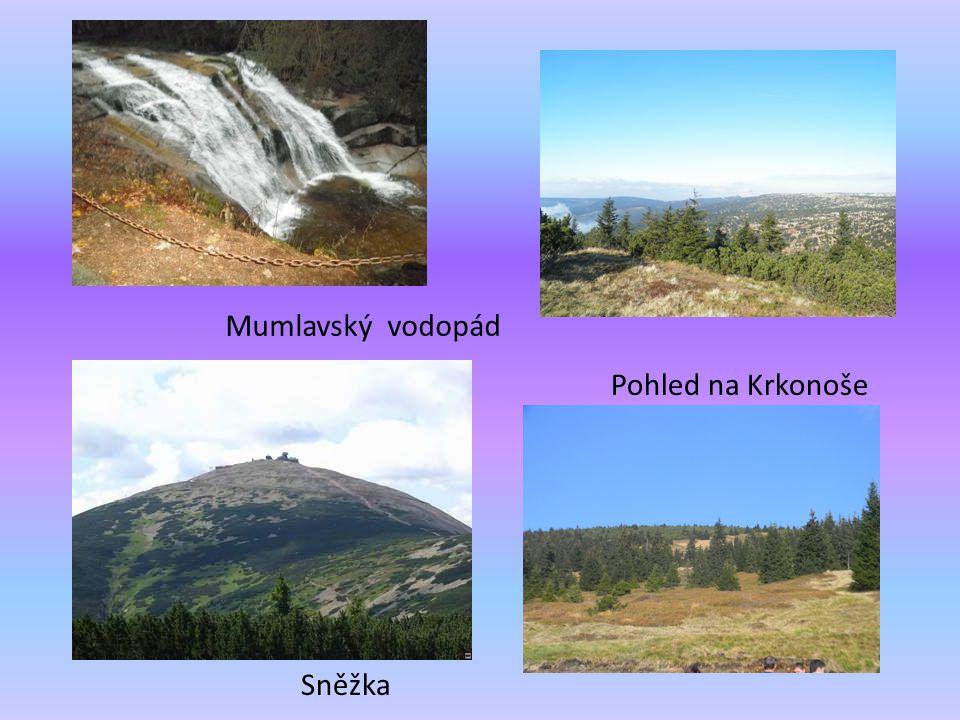 Mumlavský vodopád Sněžka Pohled na Krkonoše