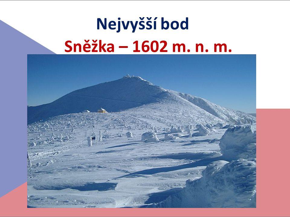 Nejvyšší bod Sněžka – 1602 m. n. m.