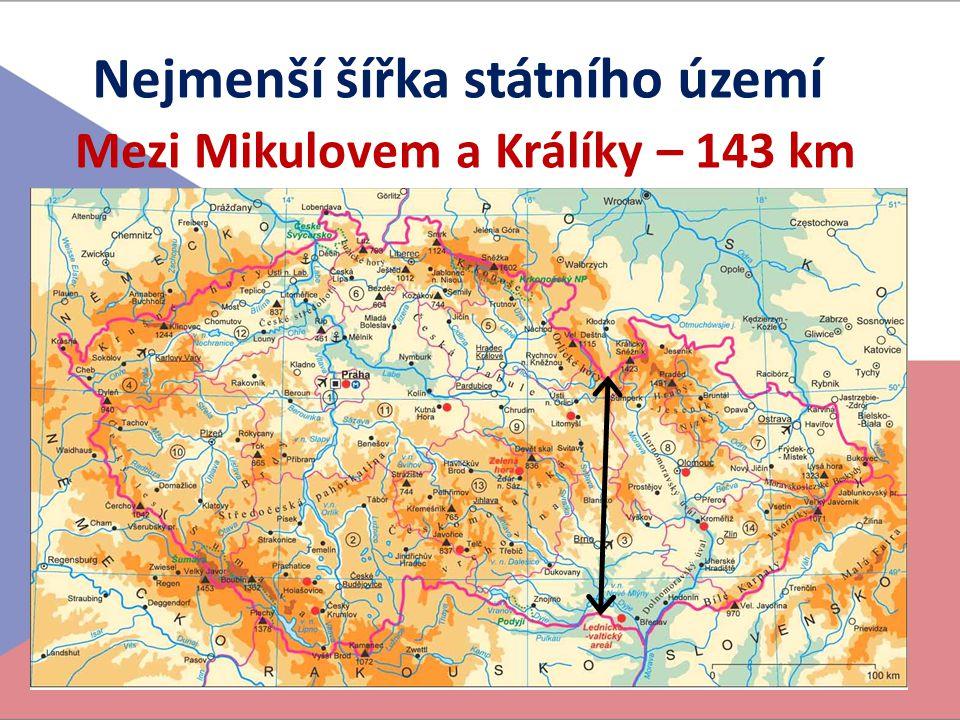 Nejmenší šířka státního území Mezi Mikulovem a Králíky – 143 km