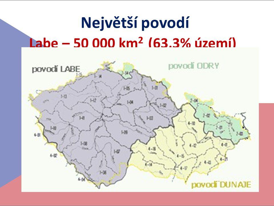 Největší povodí Labe – 50 000 km 2 (63,3% území)