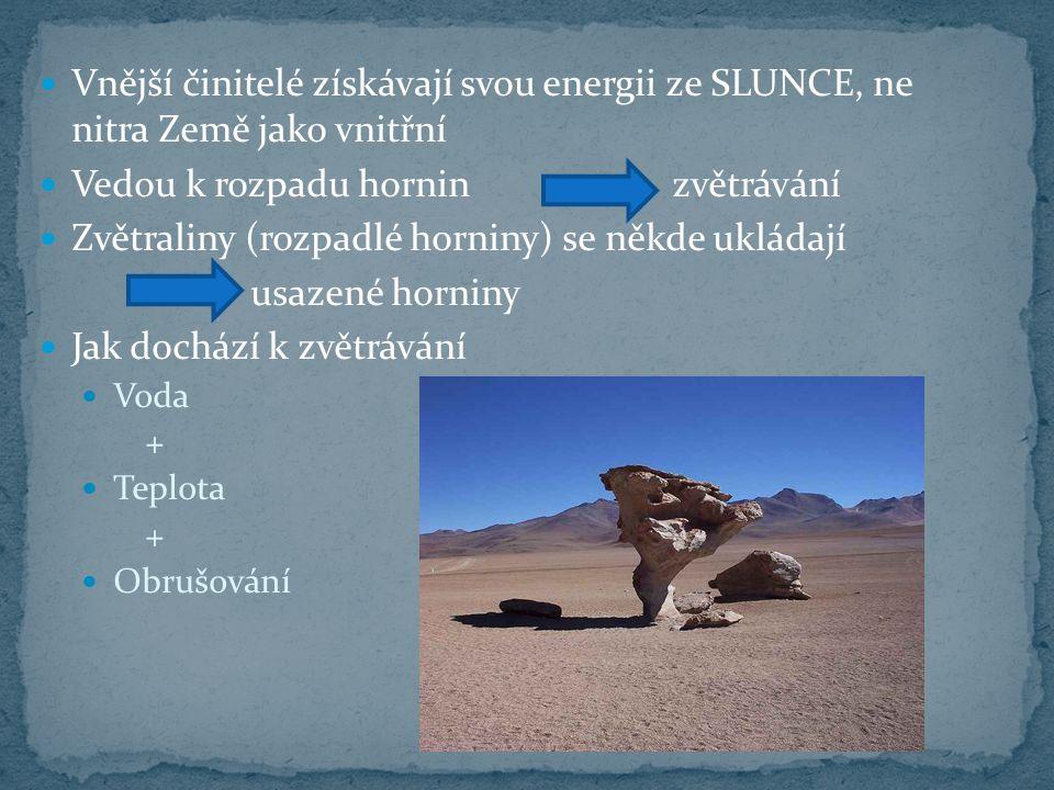 Vnější činitelé získávají svou energii ze SLUNCE, ne nitra Země jako vnitřní Vedou k rozpadu horninzvětrávání Zvětraliny (rozpadlé horniny) se někde u