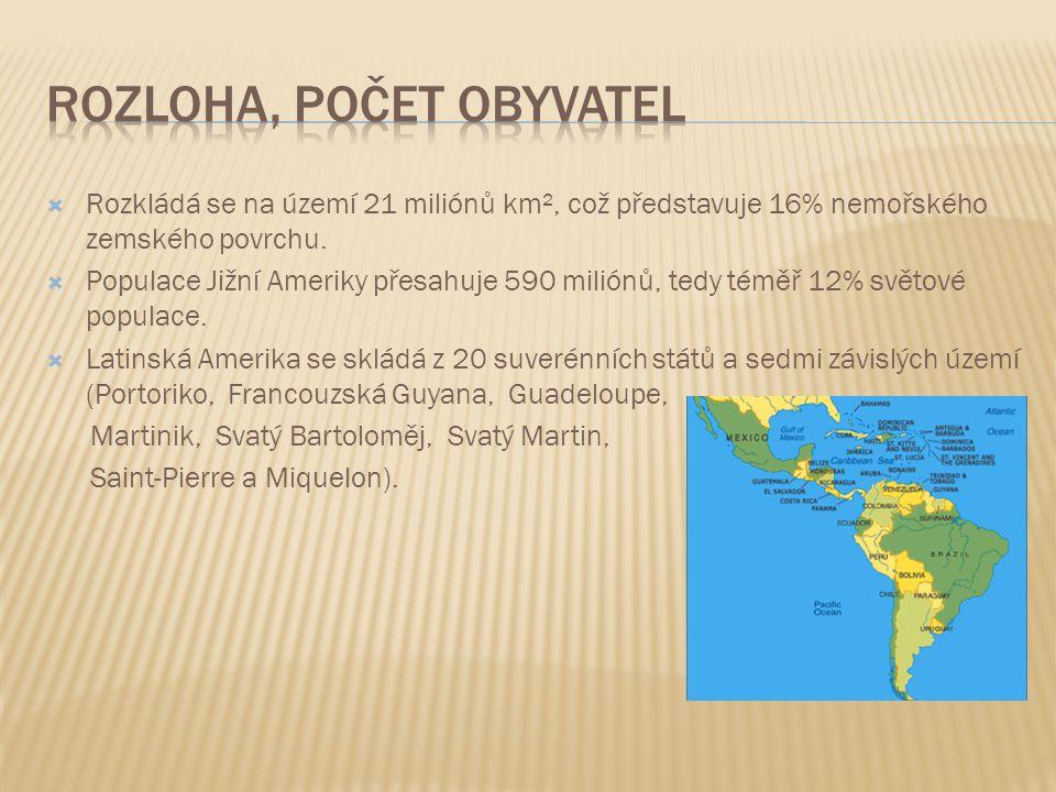  Rozkládá se na území 21 miliónů km², což představuje 16% nemořského zemského povrchu.  Populace Jižní Ameriky přesahuje 590 miliónů, tedy téměř 12%