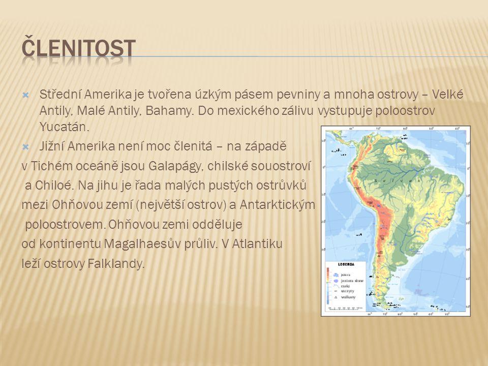  Střední Amerika je tvořena úzkým pásem pevniny a mnoha ostrovy – Velké Antily, Malé Antily, Bahamy. Do mexického zálivu vystupuje poloostrov Yucatán
