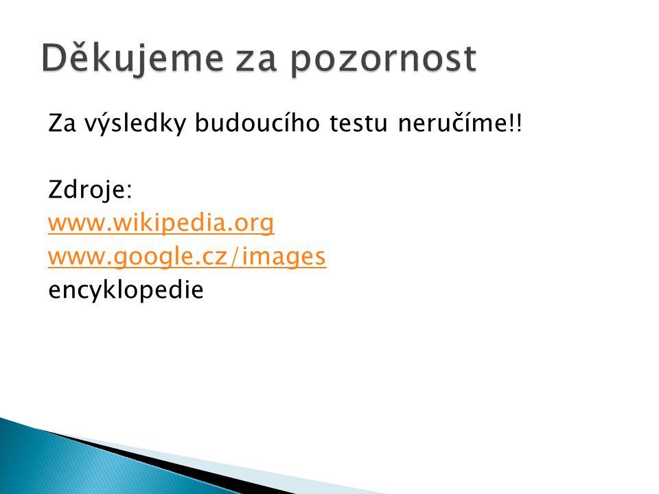 Za výsledky budoucího testu neručíme!! Zdroje: www.wikipedia.org www.google.cz/images encyklopedie