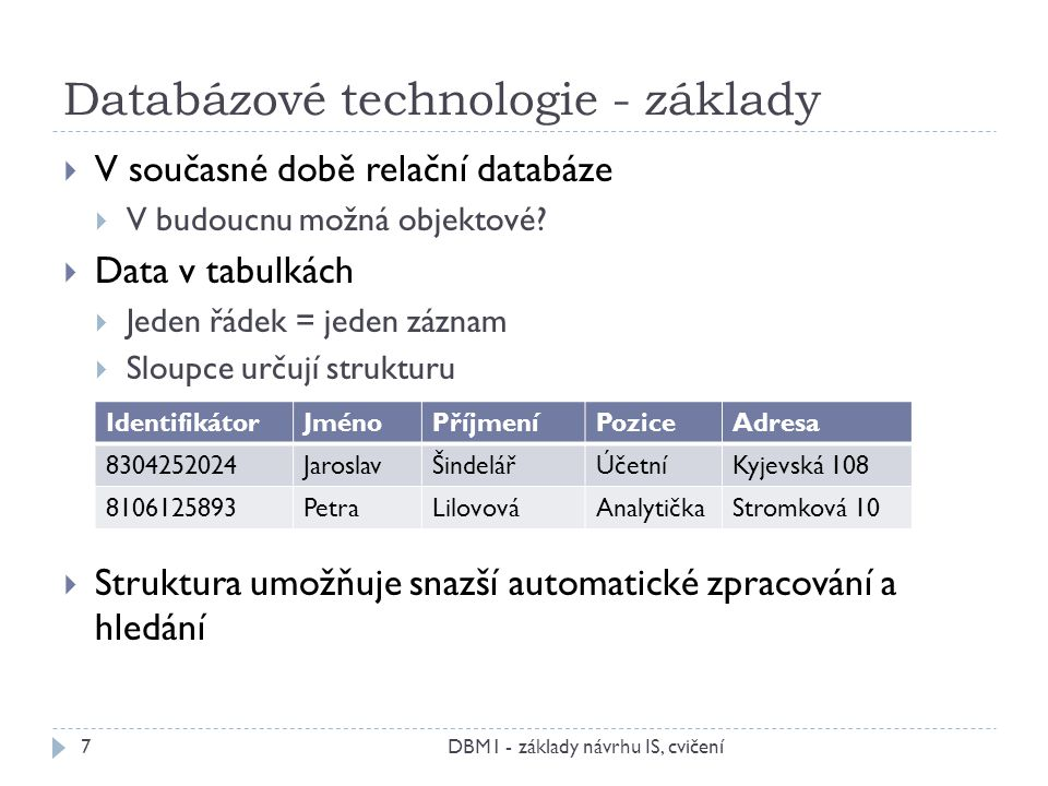 Databázové technologie - základy  V současné době relační databáze  V budoucnu možná objektové?  Data v tabulkách  Jeden řádek = jeden záznam  Sl