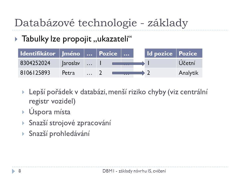 """Databázové technologie - základy DBM1 - základy návrhu IS, cvičení8  Tabulky lze propojit """"ukazateli  Lepší pořádek v databázi, menší riziko chyby (viz centrální registr vozidel)  Úspora místa  Snazší strojové zpracování  Snazší prohledávání IdentifikátorJméno…Pozice… 8304252024Jaroslav…1… 8106125893Petra…2… Id pozicePozice 1Účetní 2Analytik"""