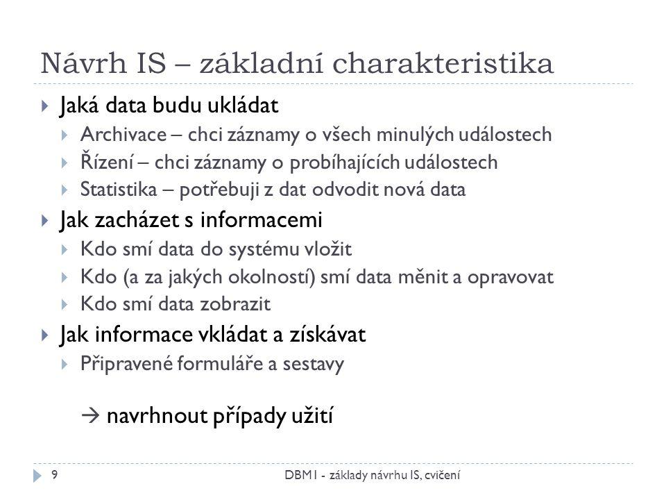Návrh IS – základní charakteristika DBM1 - základy návrhu IS, cvičení9  Jaká data budu ukládat  Archivace – chci záznamy o všech minulých událostech  Řízení – chci záznamy o probíhajících událostech  Statistika – potřebuji z dat odvodit nová data  Jak zacházet s informacemi  Kdo smí data do systému vložit  Kdo (a za jakých okolností) smí data měnit a opravovat  Kdo smí data zobrazit  Jak informace vkládat a získávat  Připravené formuláře a sestavy  navrhnout případy užití