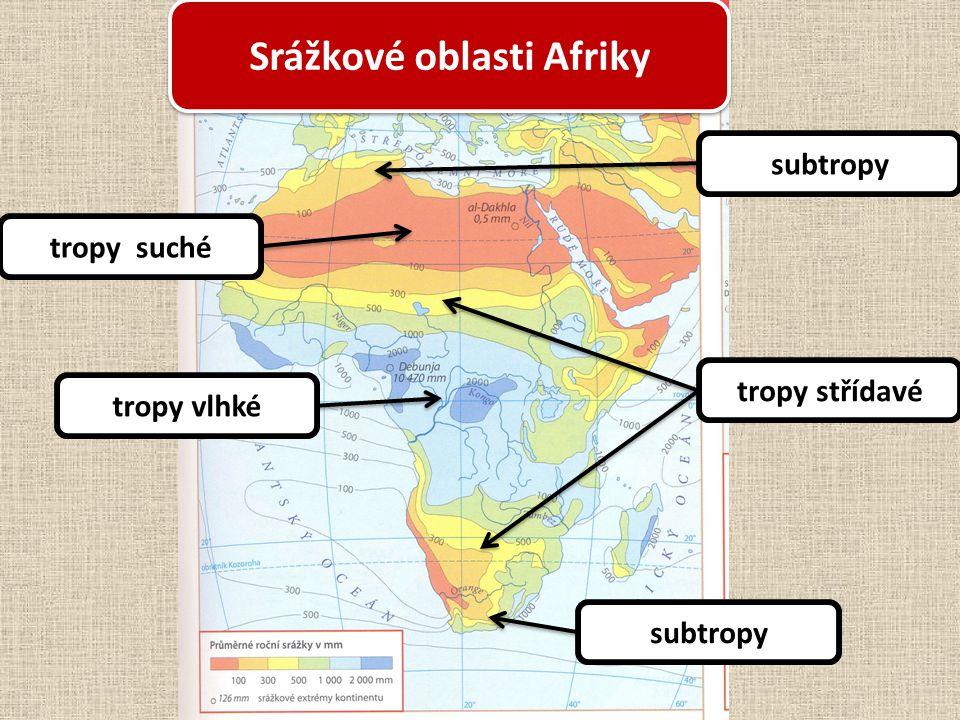 Srážkové oblasti Afriky subtropy tropy střídavé tropy suché tropy vlhké subtropy