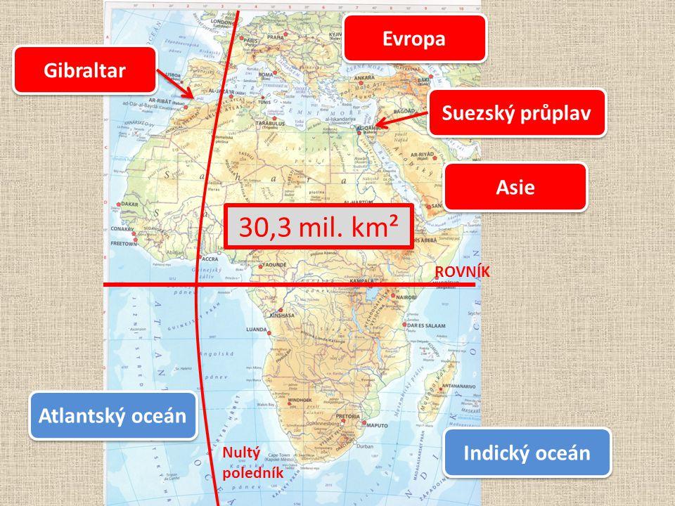 ROVNÍK Evropa Asie Gibraltar Suezský průplav Indický oceán Atlantský oceán Nultý poledník 30,3 mil. km²