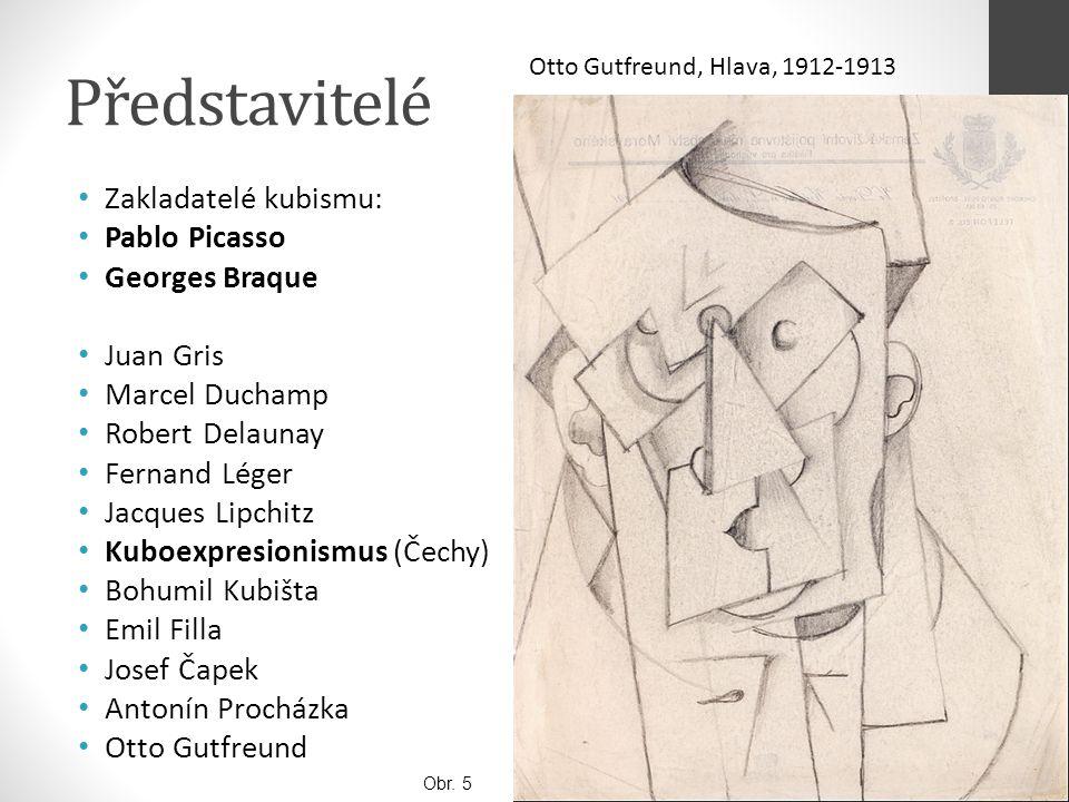 Představitelé Zakladatelé kubismu: Pablo Picasso Georges Braque Juan Gris Marcel Duchamp Robert Delaunay Fernand Léger Jacques Lipchitz Kuboexpresioni