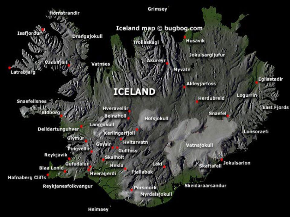je stát na stejnojmenném ostrově v severní části Atlantského oceánu Hlavní město: Reykjavík ( 117 721 ob.2007) Rozloha: 103 125 km² Počet obyvatel: 31