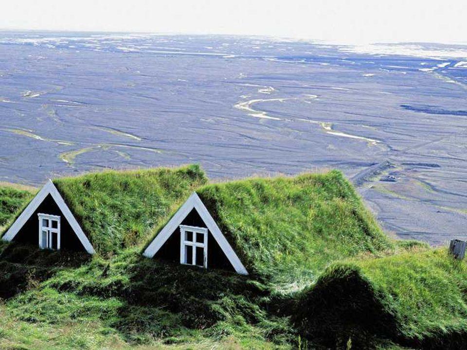 Lesní lidové muzeum Islandu - Skanzen ukázky polodřevěných staveb pokrytých travními drny soubor domů z různých farem v oblasti - ukázky polodřevěných