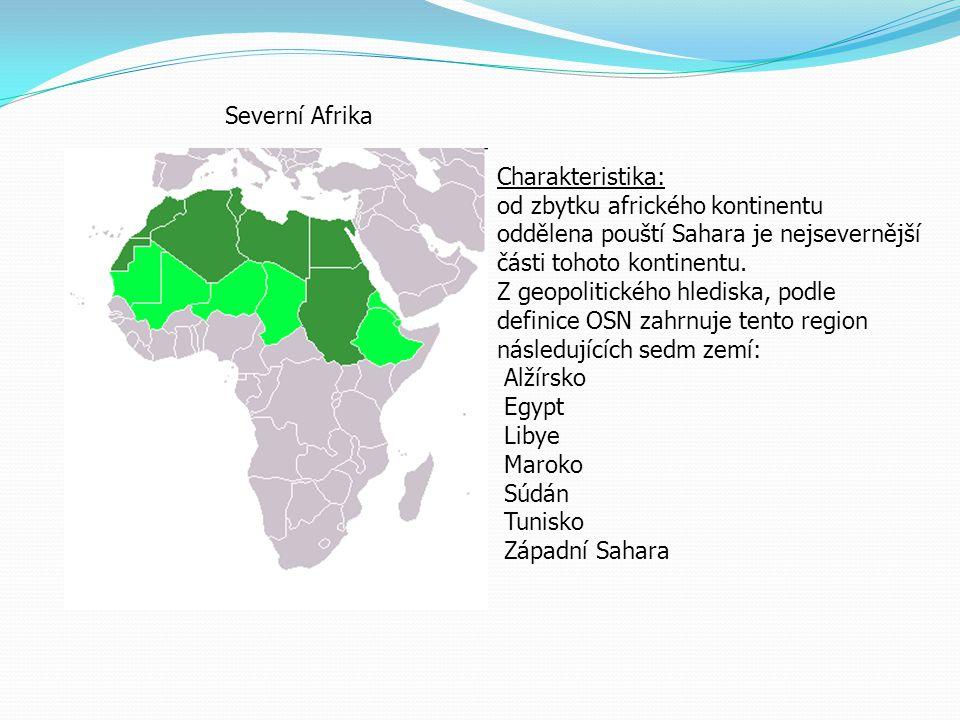 Severní Afrika Charakteristika: od zbytku afrického kontinentu oddělena pouští Sahara je nejsevernější části tohoto kontinentu. Z geopolitického hledi