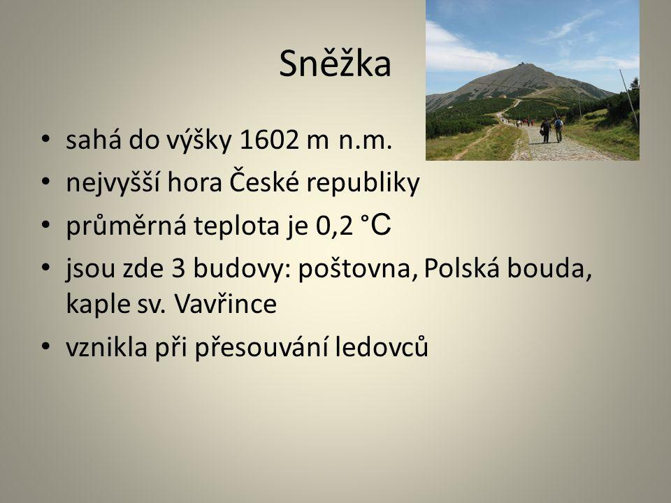 Sněžka sahá do výšky 1602 m n.m. nejvyšší hora České republiky průměrná teplota je 0,2 °C°C jsou zde 3 budovy: poštovna, Polská bouda, kaple sv. Vavři