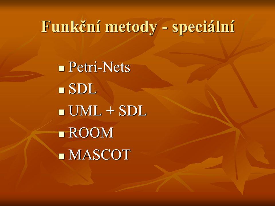 Funkční metody - speciální Petri-Nets Petri-Nets SDL SDL UML + SDL UML + SDL ROOM ROOM MASCOT MASCOT