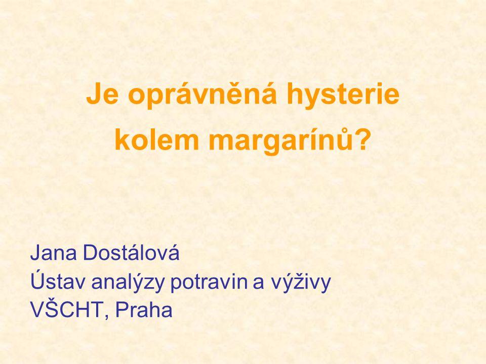 Je oprávněná hysterie kolem margarínů? Jana Dostálová Ústav analýzy potravin a výživy VŠCHT, Praha