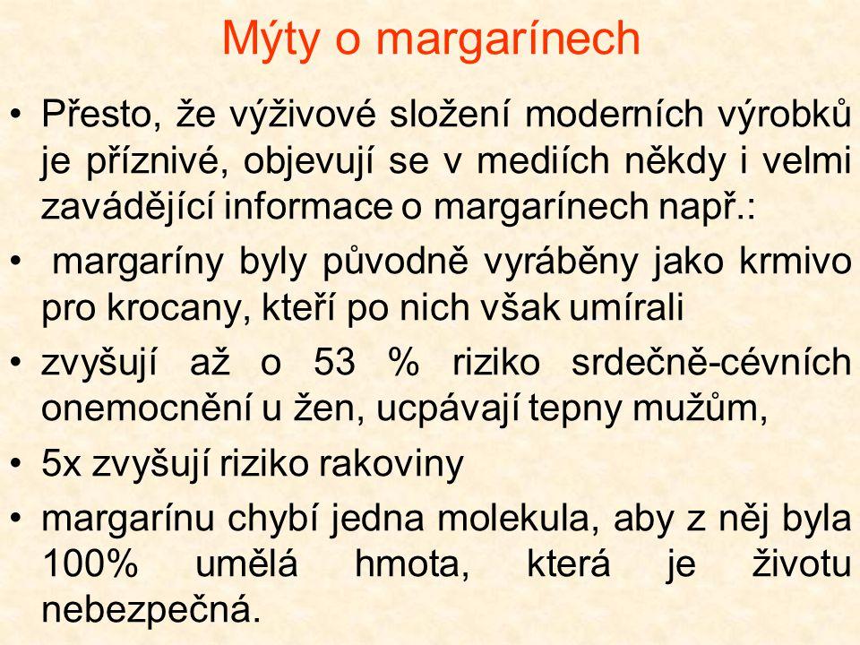 Mýty o margarínech Přesto, že výživové složení moderních výrobků je příznivé, objevují se v mediích někdy i velmi zavádějící informace o margarínech n