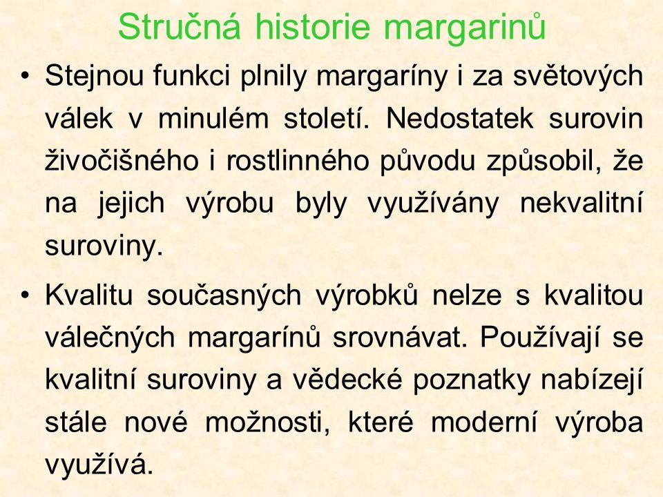 Stručná historie margarinů Stejnou funkci plnily margaríny i za světových válek v minulém století. Nedostatek surovin živočišného i rostlinného původu