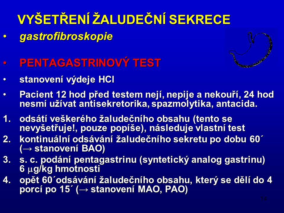 14 gastrofibroskopiegastrofibroskopie PENTAGASTRINOVÝ TESTPENTAGASTRINOVÝ TEST stanovení výdeje HClstanovení výdeje HCl Pacient 12 hod před testem nejí, nepije a nekouří, 24 hod nesmí užívat antisekretorika, spazmolytika, antacida.Pacient 12 hod před testem nejí, nepije a nekouří, 24 hod nesmí užívat antisekretorika, spazmolytika, antacida.