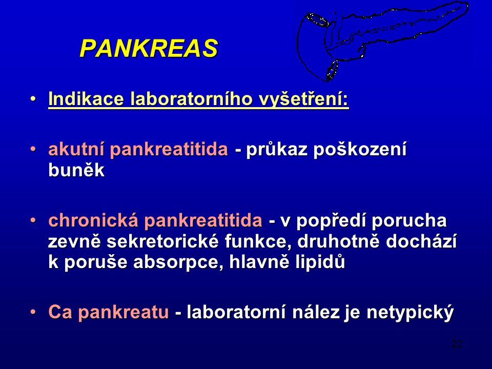 22 PANKREAS Indikace laboratorního vyšetření:Indikace laboratorního vyšetření: akutní pankreatitida - průkaz poškození buněkakutní pankreatitida - průkaz poškození buněk chronická pankreatitida - v popředí porucha zevně sekretorické funkce, druhotně dochází k poruše absorpce, hlavně lipidůchronická pankreatitida - v popředí porucha zevně sekretorické funkce, druhotně dochází k poruše absorpce, hlavně lipidů Ca pankreatu - laboratorní nález je netypickýCa pankreatu - laboratorní nález je netypický