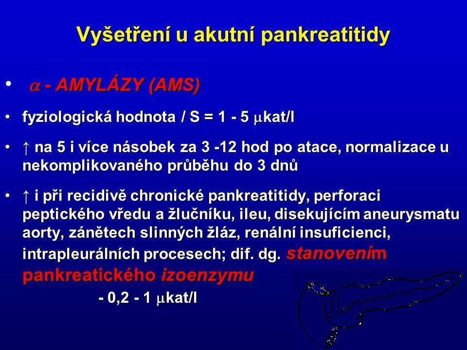 24 Vyšetření u akutní pankreatitidy  - AMYLÁZY (AMS) fyziologická hodnota / S = 1 - 5  kat/lfyziologická hodnota / S = 1 - 5  kat/l ↑ na 5 i více n