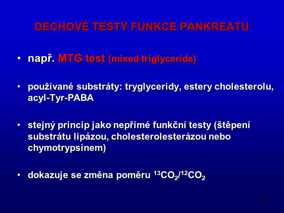 32 DECHOVÉ TESTY FUNKCE PANKREATU např. MTG test (mixed triglyceride)např. MTG test (mixed triglyceride) používané substráty: tryglyceridy, estery cho